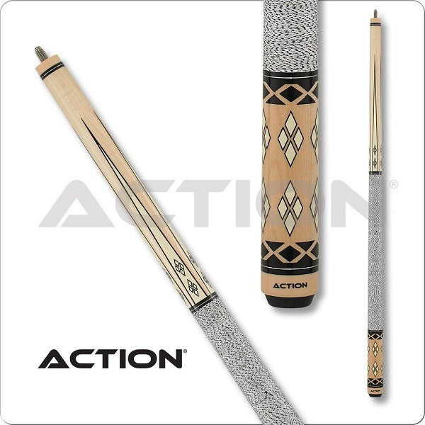 Action Pool Cues - Exotic Series - ACT145 - Diamonds White Wrap - absolute cues