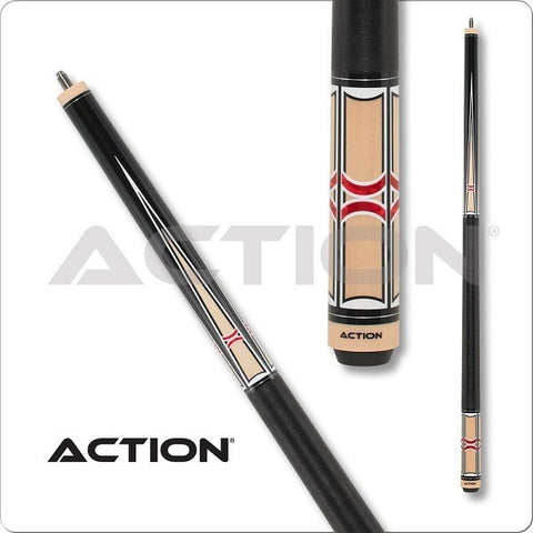 Action Pool Cues - Exotic Series - ACT147 - Black Red And White - absolute cues