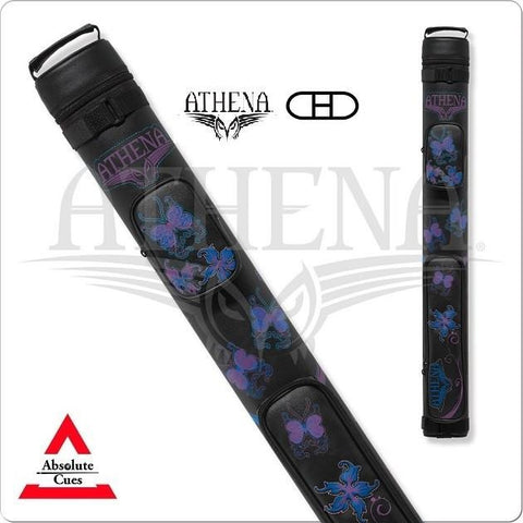 Athena Cue Case - Cue Case - ATHC08 - Black, Blue, Purple, Butterflies - absolute cues