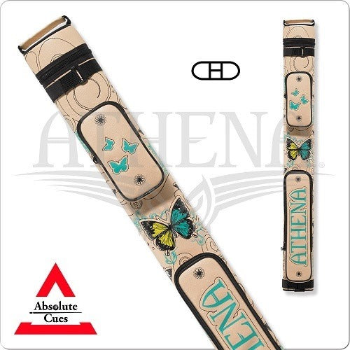 Athena Cue Case - Hard Case - ATHC09 - 2x2 Stitch Cream & Teal - absolute cues