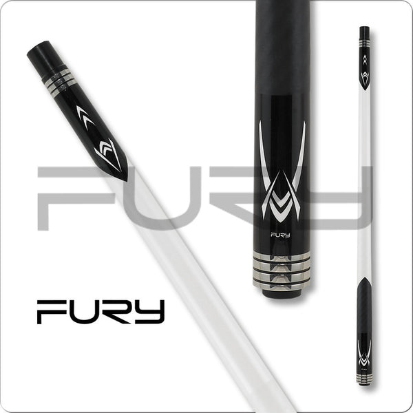 Fury Pool Cues - Break Cue - Black and White - FUBKA1 - ZR Break Shaft - absolute cues