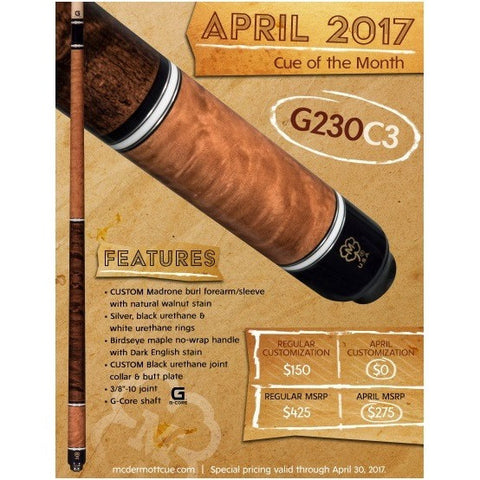 McDermott Pool Cue - G230C3 April 2017 Cue Of The Month Walnut - absolute cues