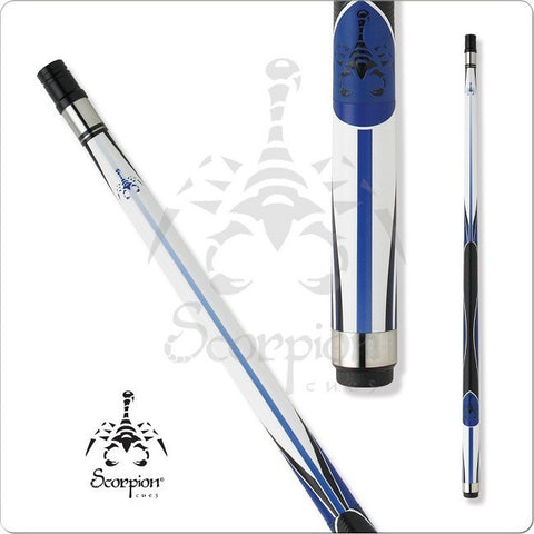 Scorpion Pool Cues - Sports Grip - GRP07 - Scorpion White and Blue - absolute cues
