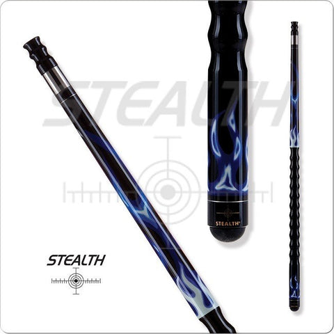 Stealth Pool Cue - Ergonomic Grip, STH04, Blue White Flames - absolute cues