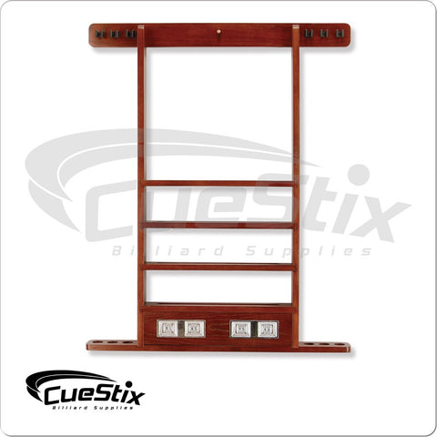 6 Cue Deluxe Wall Rack - Multiple Stain Choices
