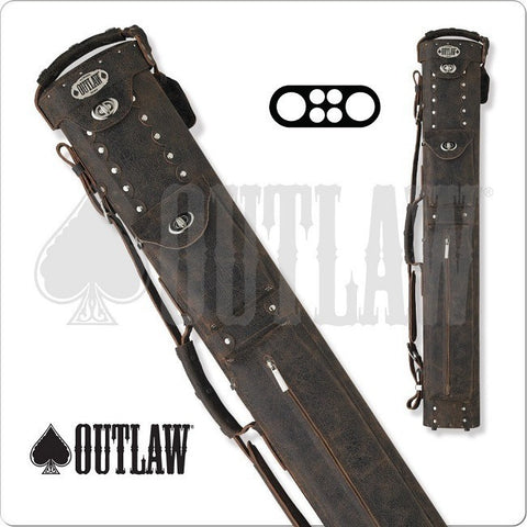 Outlaw Cowboy OLBCC01 - 2x4 - Brown Leather Hard Cue Case - absolute cues