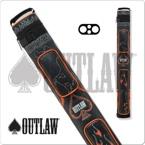 Outlaw Pool Cue Case - OLB22D - 2x2 - Stitch Flames Hard Cue Case - absolute cues