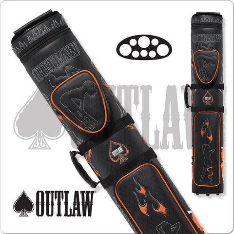 Outlaw Cue Case - OLB35D - Stitched Flames 3x5 Hard Cue Case - Absolute cues