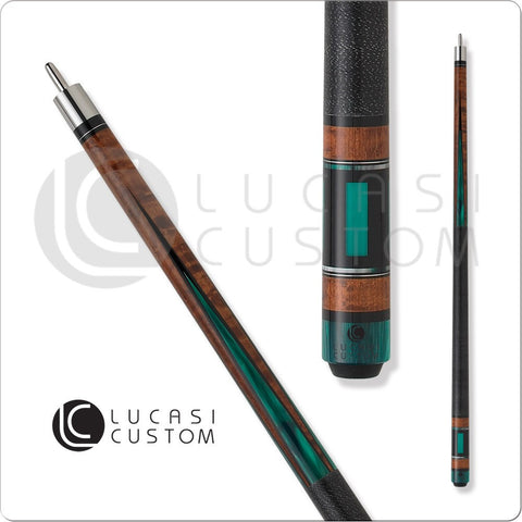 Lucasi Pool Cue - Custom Series - LZP30 - Brown with Green Inlays - absolute cues