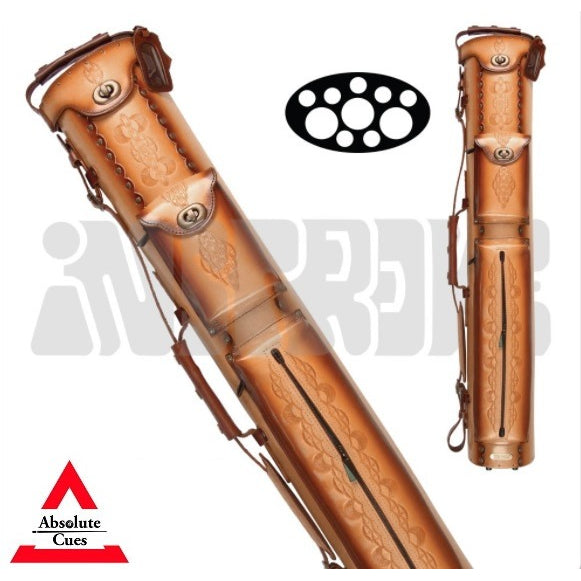 InStroke Pool Cue Case - 3x7 - IST37 - Tooled Rust Leather Cue Case - absolute cues