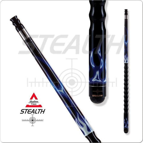 Stealth Pool Cue - STH-04 - Ergonomic Grip - Blue Flame - absolute cues