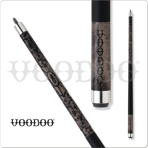 VooDoo  Pool Cues - VOD11 - Grey Stained Multi Skulls - absolute cues