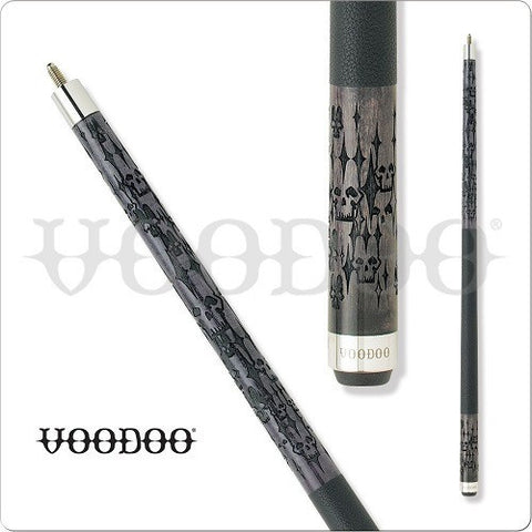 VooDoo  Pool Cues - VOD16 - Grey Stained Mirrored Skulls - absolute cues