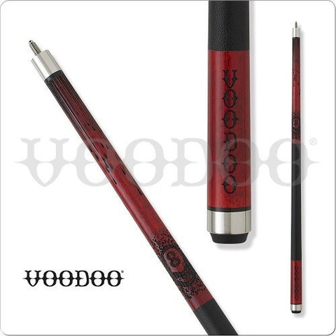 VooDoo  Pool Cues - VOD22 - Red Stained - Black Magic Design - absolute cues