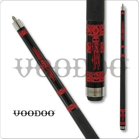 VooDoo  Pool Cues - VOD24 - Red Skulls - Doomed - Creepy - absolute cues