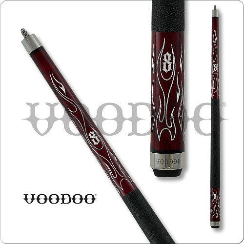 VooDoo  Pool Cues - VOD25 - Blood Red Stained - Inferno Design - absolute cues
