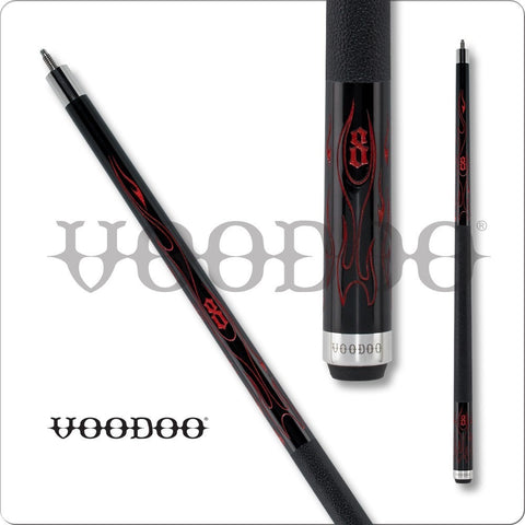 VooDoo  Pool Cues - VOD26 - Black Stain - Hellfire Paint Design - absolute cues