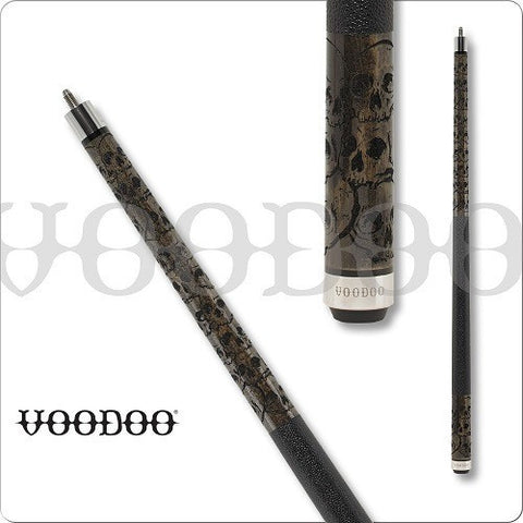 VooDoo  Pool Cues - VOD31 - Grey Stained - Cluster of Skulls - absolute cues