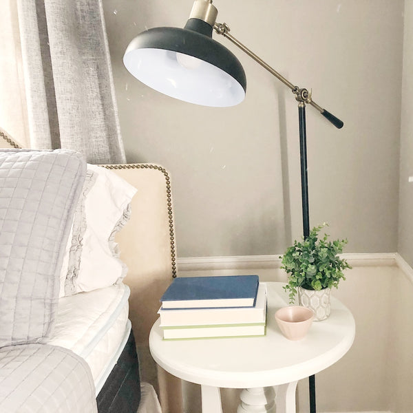 Bed Side Table with Lamp and Books