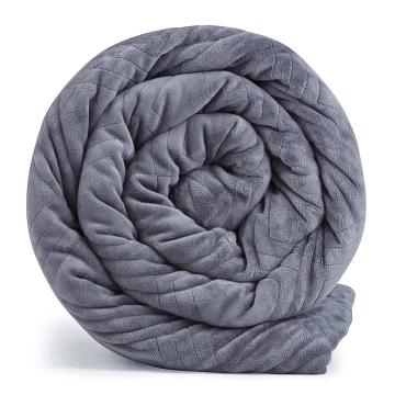 rolled up Hush Weighted Warming blanket in grey