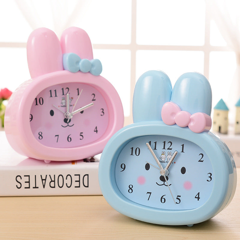 Brand New Children Toy Table Clock Cute Cartoon Rabbit Digital Desk Bunny Ears Alarm Clock Students Gift kids Mute Clock