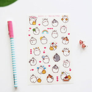 6 pcs/pack Round White Molang Rabbit Decorative Stationery Stickers Scrapbooking DIY Diary Album Stick Label