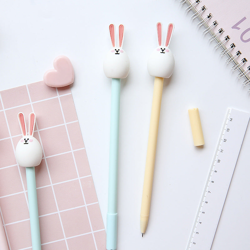 3pcs Cute bunny rabbit gel pen Cartoon 0.5mm ballpoint Black color pens for writing Stationery Office School supplies A6209