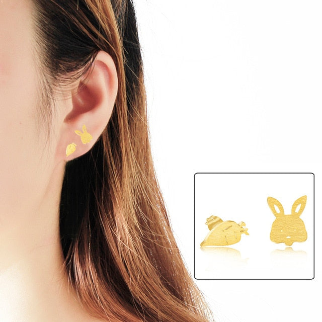 Asymmetric Cute Carrot Rabbit Stud Earrings For Women Jewelry Stainless Steel Oorbellen Small Animal Bunny Gold Silver Earrings