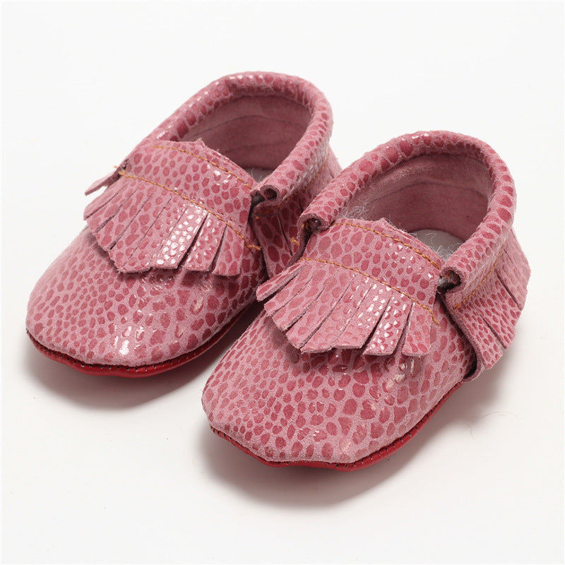 Snake Skin Genuine Leather Moccasins - Pink