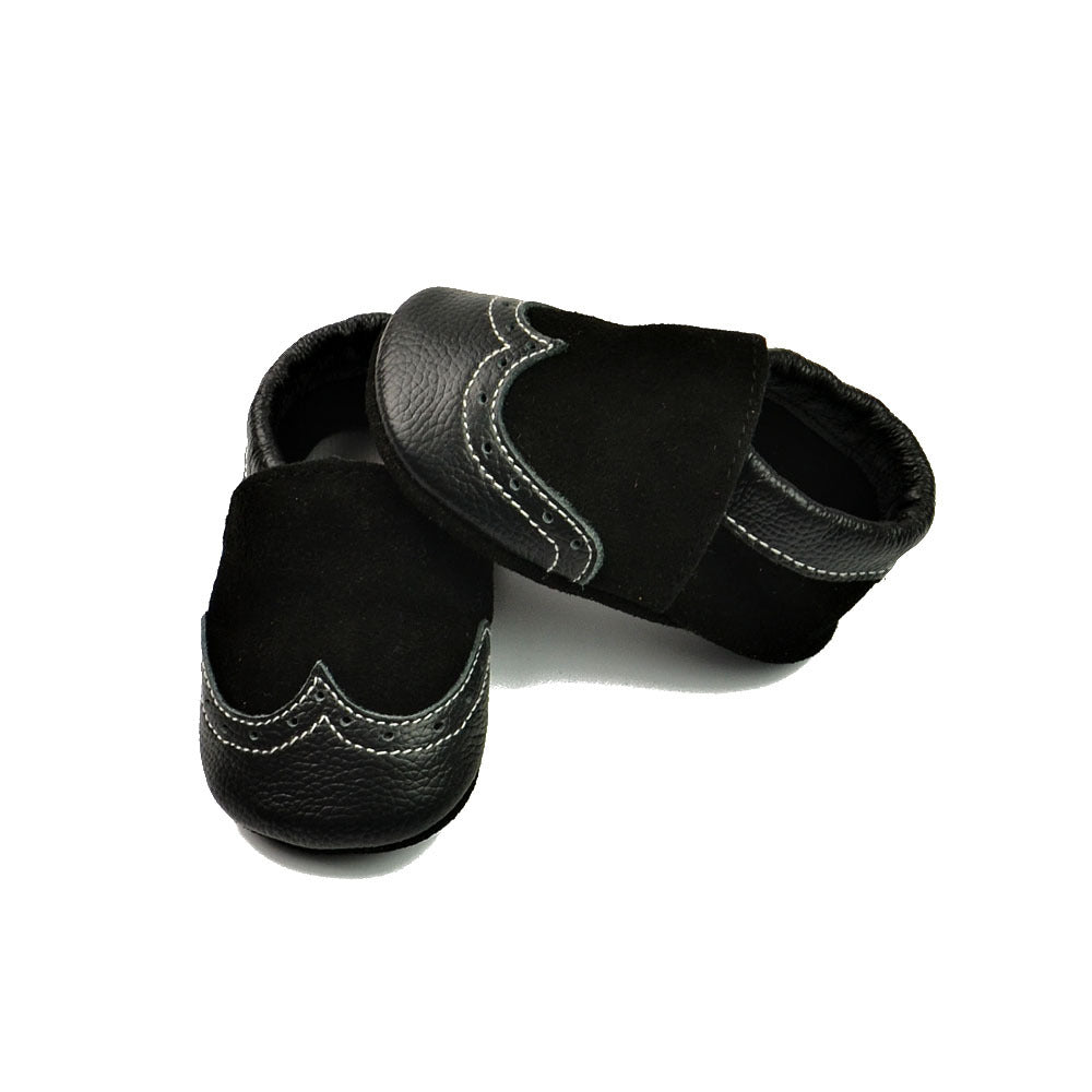 RTS Genuine Leather & Suede Baby Booties - Black