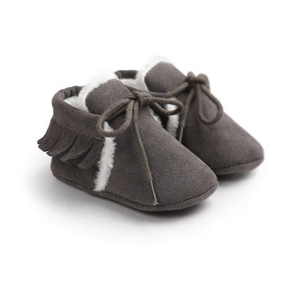 Plush Tied Moccasin Booties-6 Colors