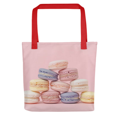 Yummy Pastel Macarons Design - All Over Print Food Tote Bag
