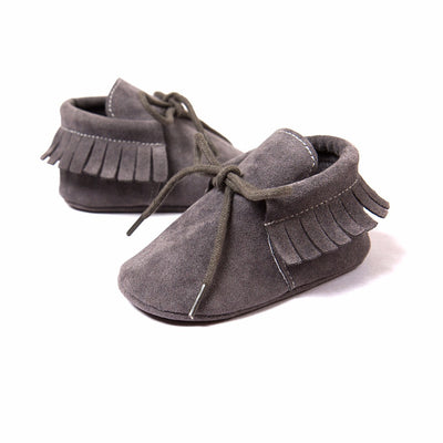 Fringe Tied Suede Moccasins-11 Colors