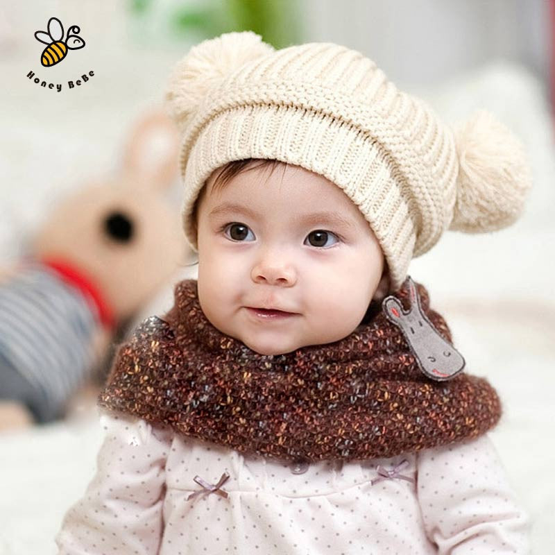 Knitted Double Pom-Pom Hats-5 Colors