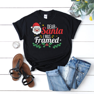 Dear Santa I Was Framed 2 - Funny Christmas Adult Tee