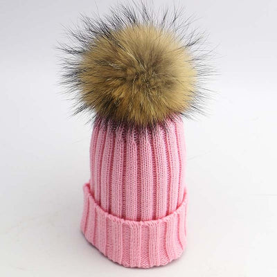 Children's Ribbed Fur Beanies - 7 Colors