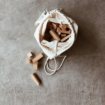Wooden Story - Natural blocks in sack - 30 pcs