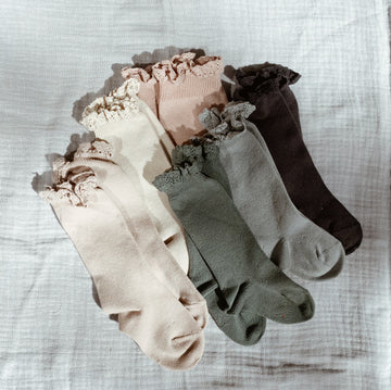 CONDOR - Ruffle Knee Socks - Earthy Colors