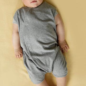 Sleeveless Baby Suit  - Organic cotton - Grey Melange