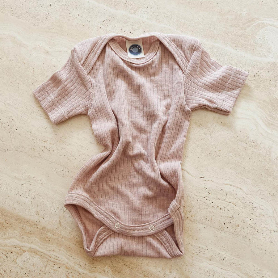 Cosilana - Short Sleeve Romper -  Silk / wool-cotton