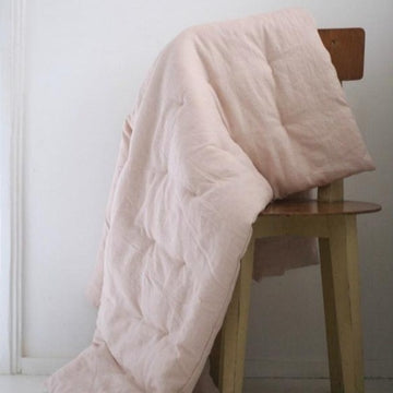 Cats and Boys - Linen play quilt - Pale pink
