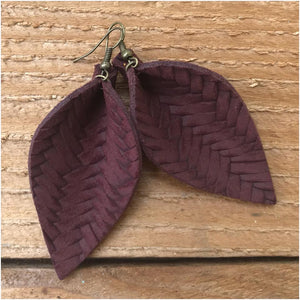 Tear Drop Leather Earrings