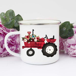 Rural Girl Red Tractor Mug
