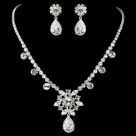 Silver Clear Kim Kardashian's Inspired CZ Crystal Necklace & Earrings Jewelry Set 1538