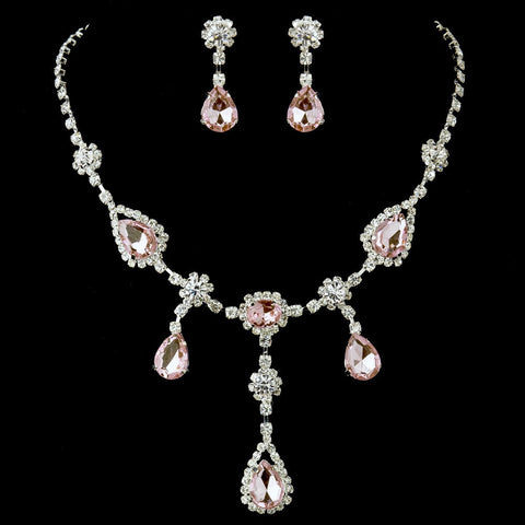 Silver Clear & Pink Necklace & Earrings Bridal Jewelry Set 12055