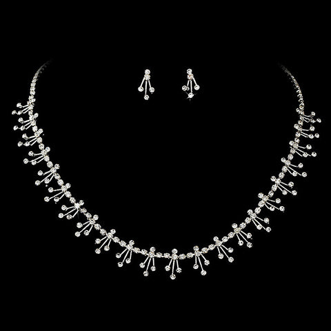 Dazzling Silver Clear Rhinestone Necklace & Earring Set - 357
