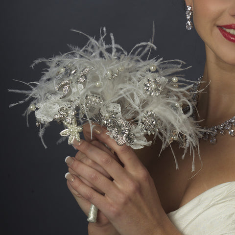 Diamond White Pearl, Rhinestone, Lace Feathered Bouquet 400