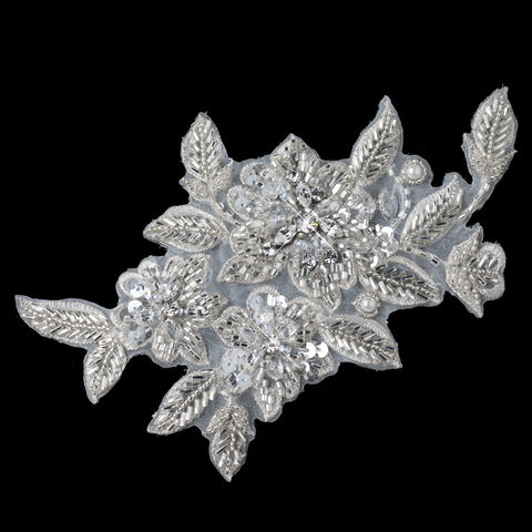 Ivory Floral Leaf Headpiece or Belt Applique 3191