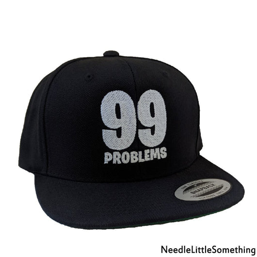 99 Problems Embroidered Black Snapback Hat/Cap-Already Embroidered-