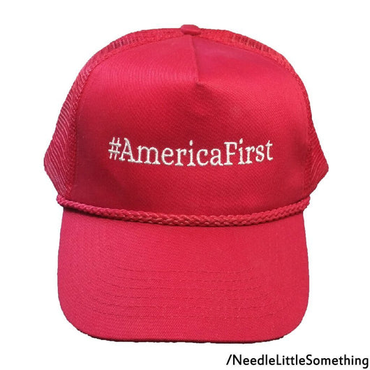 America First #AmericaFirst Embroidered Classic Mesh-Back Hat/Cap-Already Embroidered-